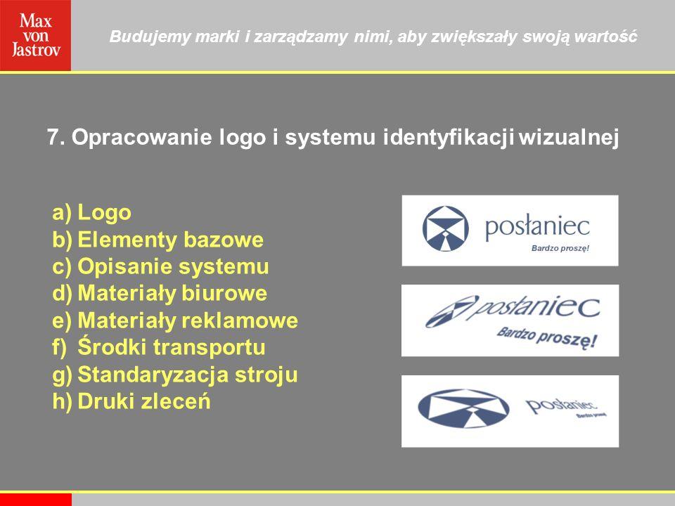 Budujemy marki i zarządzamy nimi, aby zwiększały swoją wartość 7. Opracowanie logo i systemu identyfikacji wizualnej a)Logo b)Elementy bazowe c)Opisan