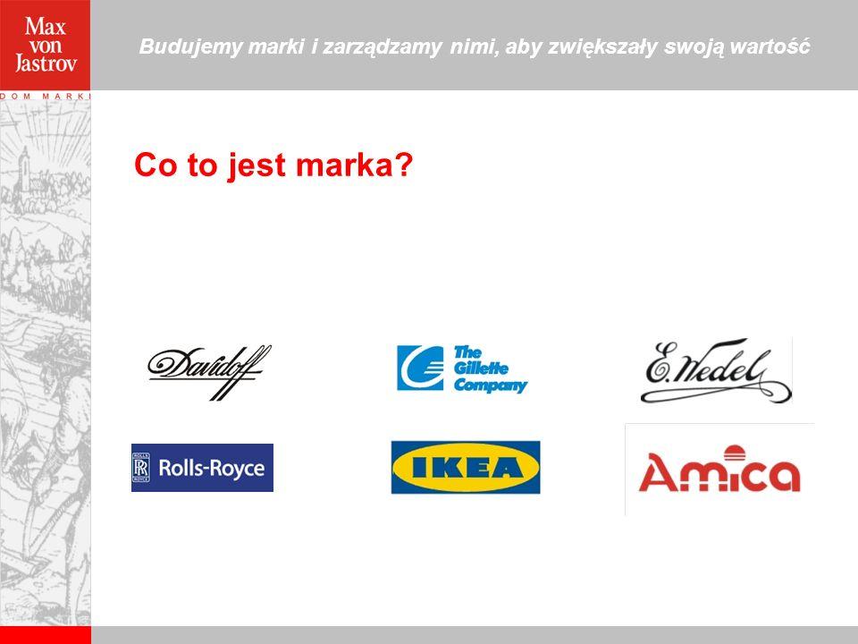 Budujemy marki i zarządzamy nimi, aby zwiększały swoją wartość Marka… Marka to nazwa, symbol lub ich kombinacja stworzona w celu zakomunikowania niepowtarzalnych i wiarygodnych obietnic.
