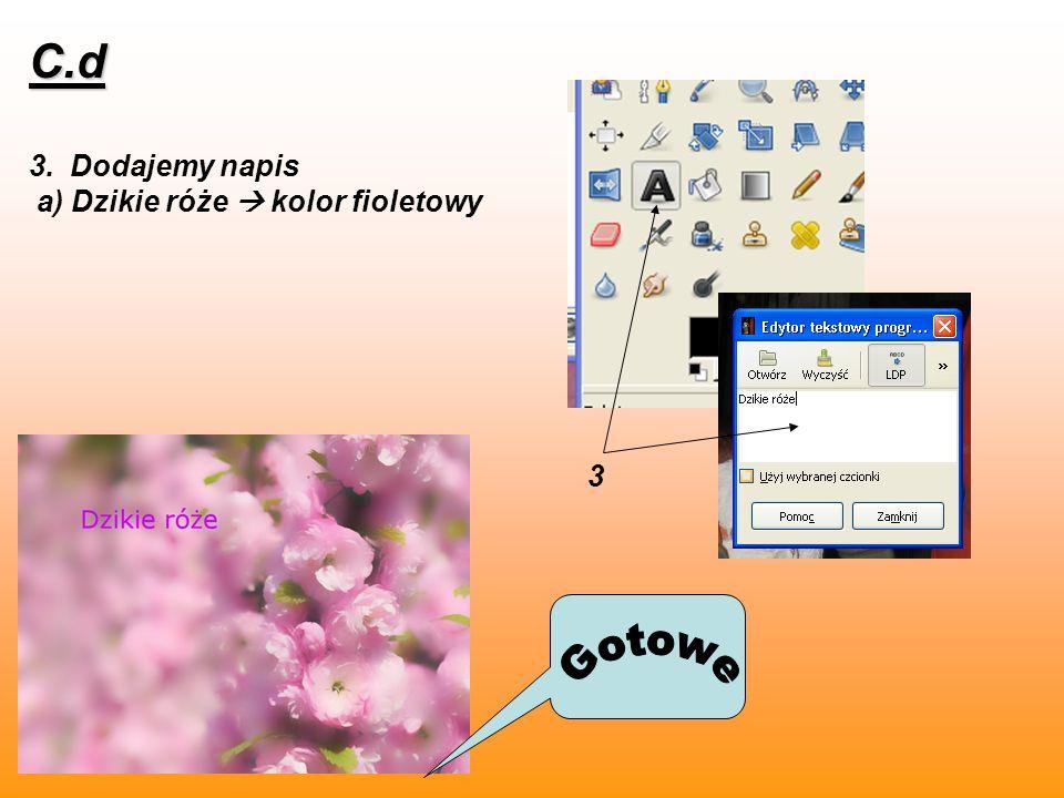 3. Dodajemy napis a) Dzikie róże kolor fioletowy C.d 3