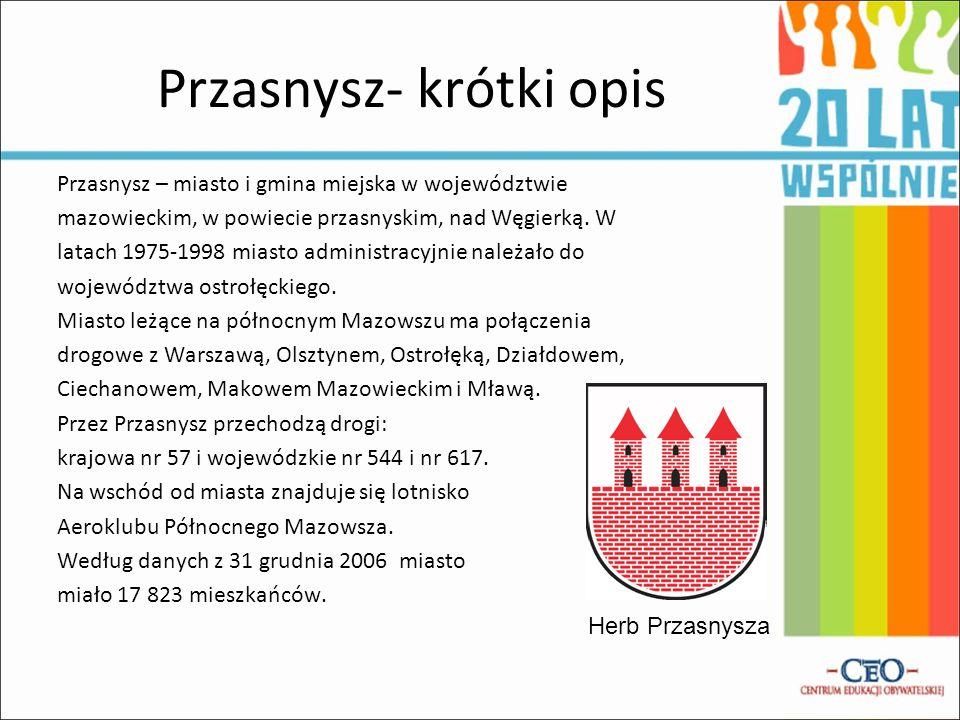 Przasnysz- krótki opis Przasnysz – miasto i gmina miejska w województwie mazowieckim, w powiecie przasnyskim, nad Węgierką. W latach 1975-1998 miasto