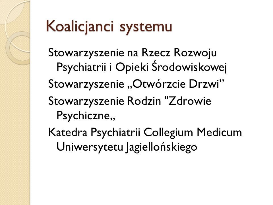 System wsparcia osób chorujących- spotkanie z dr Andrzejem Cechnickim Zdrowie : szpital, zespoły leczenia środowiskowego, centrum zdrowia psychicznego, oddziały dzienne Rehabilitacja : WTZ, ŚDS, Centrum Seniora, ZAZ- pensjonat u pana Cogito, przedsiębiorstwo społeczne w laboratorium Cogito i firma społeczna w Zielonym Dole, otwarty rynek pracy, mieszkalnictwo chronione, Oba obszary uzupełniają się wzajemnie i stanowią niezbędne ogniwa skutecznego systemu wsparcia Żeby z inności nie wynikała gorszość