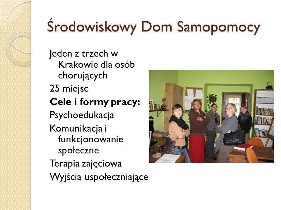 Środowiskowy Dom Samopomocy Jeden z trzech w Krakowie dla osób chorujących 25 miejsc Cele i formy pracy: Psychoedukacja Komunikacja i funkcjonowanie s