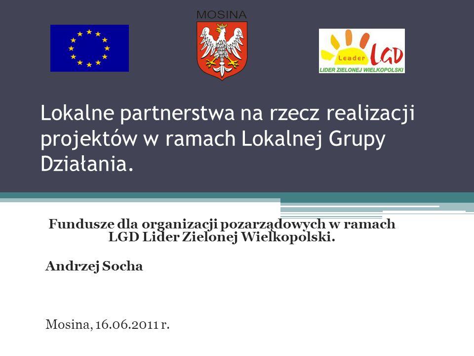 Lokalne partnerstwa na rzecz realizacji projektów w ramach Lokalnej Grupy Działania. Fundusze dla organizacji pozarządowych w ramach LGD Lider Zielone