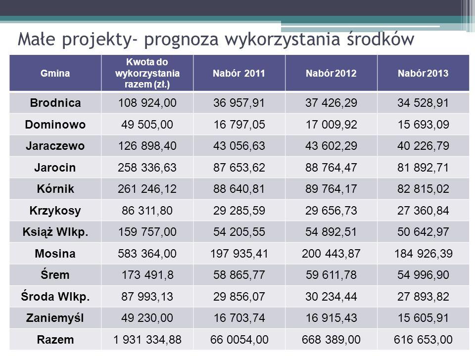 Małe projekty- prognoza wykorzystania środków Gmina Kwota do wykorzystania razem (zł.) Nabór 2011Nabór 2012Nabór 2013 Brodnica108 924,0036 957,9137 42