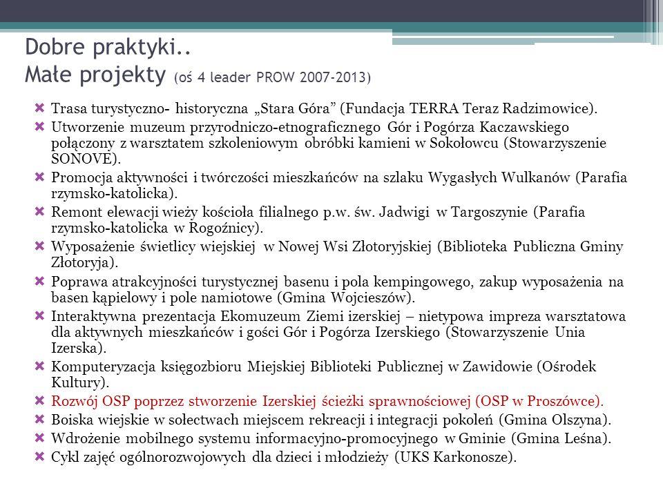Dobre praktyki.. Małe projekty (oś 4 leader PROW 2007-2013) Trasa turystyczno- historyczna Stara Góra (Fundacja TERRA Teraz Radzimowice). Utworzenie m