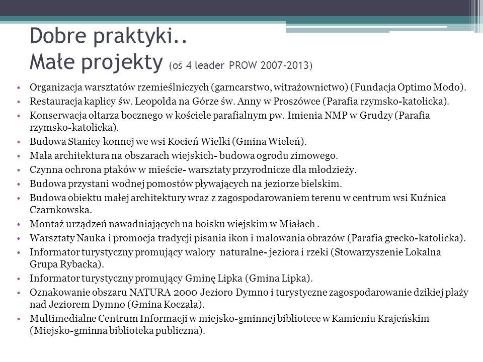 Dobre praktyki.. Małe projekty (oś 4 leader PROW 2007-2013) Organizacja warsztatów rzemieślniczych (garncarstwo, witrażownictwo) (Fundacja Optimo Modo