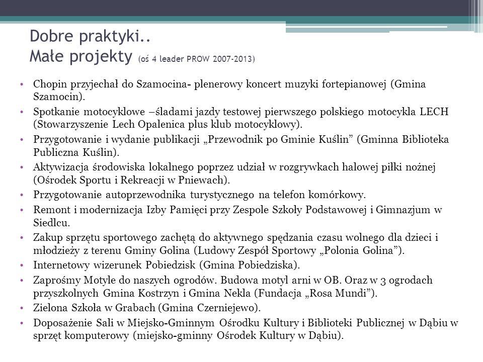 Dobre praktyki.. Małe projekty (oś 4 leader PROW 2007-2013) Chopin przyjechał do Szamocina- plenerowy koncert muzyki fortepianowej (Gmina Szamocin). S