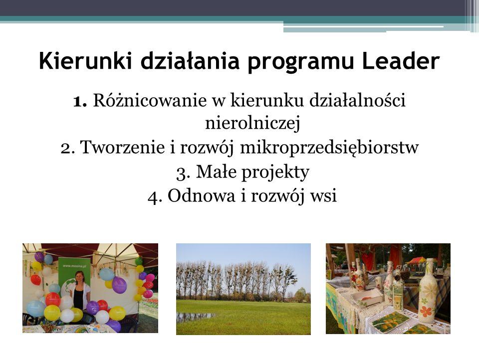 Kierunki działania programu Leader 1. Różnicowanie w kierunku działalności nierolniczej 2. Tworzenie i rozwój mikroprzedsiębiorstw 3. Małe projekty 4.