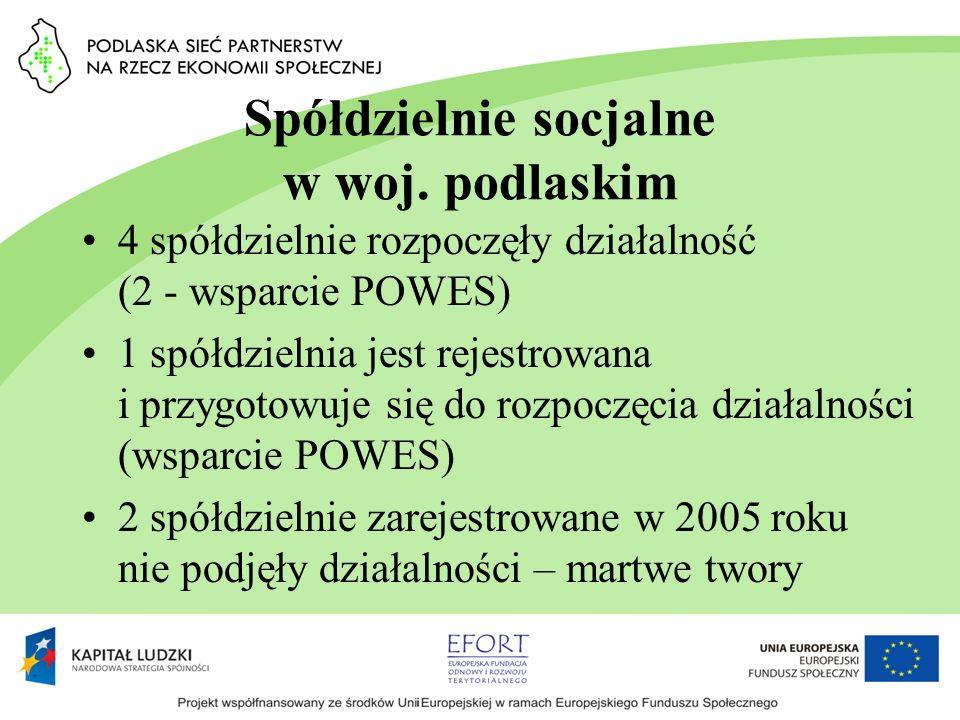 Spółdzielnie socjalne w woj. podlaskim 4 spółdzielnie rozpoczęły działalność (2 - wsparcie POWES) 1 spółdzielnia jest rejestrowana i przygotowuje się
