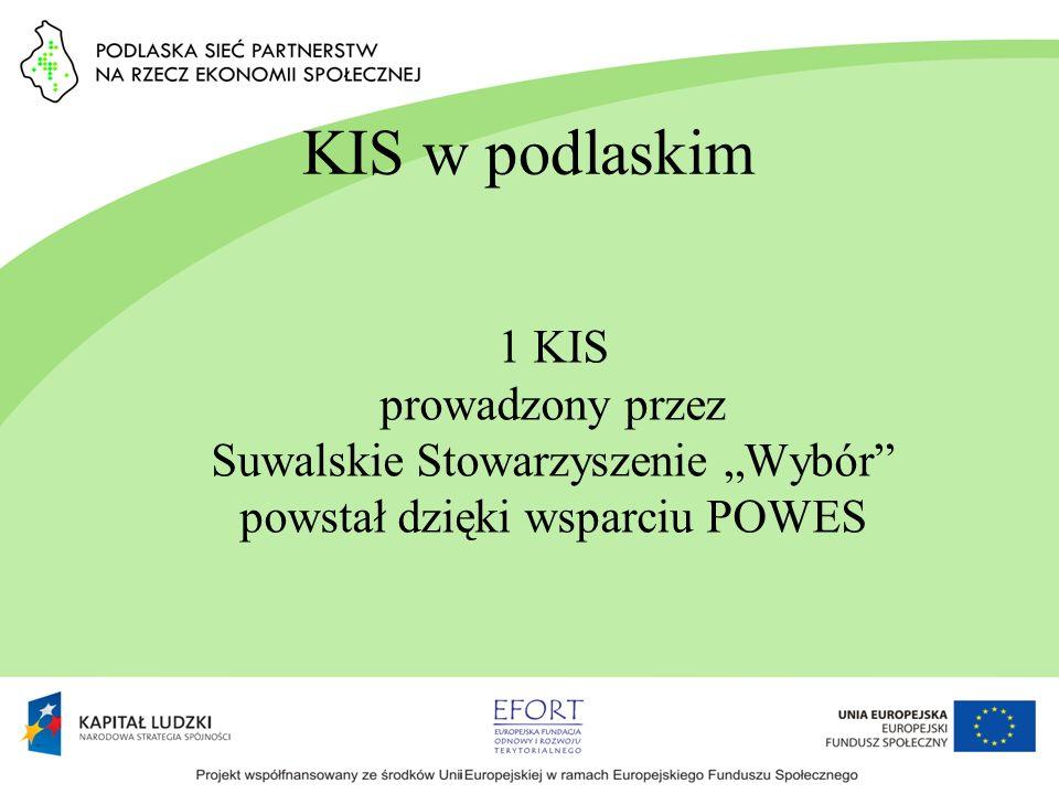 KIS w podlaskim 1 KIS prowadzony przez Suwalskie Stowarzyszenie Wybór powstał dzięki wsparciu POWES