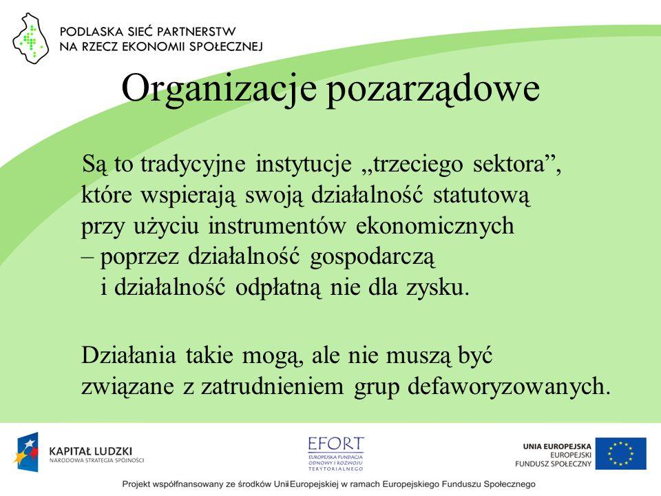 Organizacje pozarządowe Są to tradycyjne instytucje trzeciego sektora, które wspierają swoją działalność statutową przy użyciu instrumentów ekonomiczn