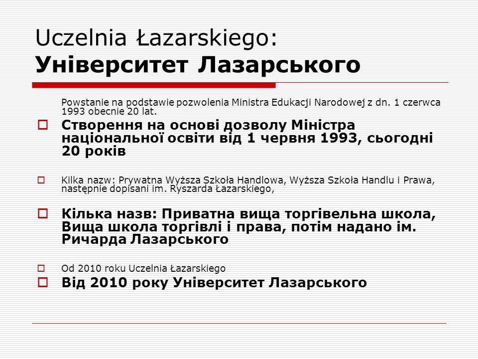 Uczelnia Łazarskiego: Університет Лазарського Powstanie na podstawie pozwolenia Ministra Edukacji Narodowej z dn.