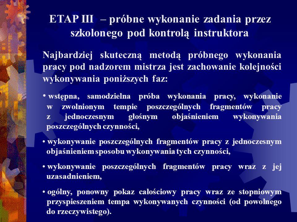 ETAP III – próbne wykonanie zadania przez szkolonego pod kontrolą instruktora Najbardziej skuteczną metodą próbnego wykonania pracy pod nadzorem mistr