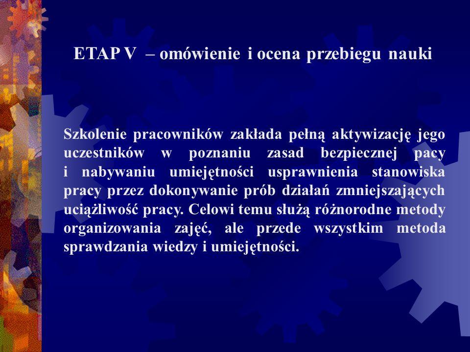 ETAP V – omówienie i ocena przebiegu nauki Szkolenie pracowników zakłada pełną aktywizację jego uczestników w poznaniu zasad bezpiecznej pacy i nabywa