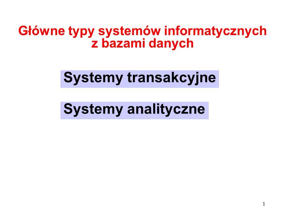 2 Główne zadanie: gromadzenie danych Typowe środowisko: operacyjne bazy danych Typowe operacje wielka liczba niewielkich transakcji modyfikujących dane operacje zapisu i odczytu - interaktywne i wsadowe Główne problemy wielodostęp konieczność stałego utrzymania spójności danych maksymalizacja średniej wydajności Systemy transakcyjne OLTP On-Line Transaction Processing