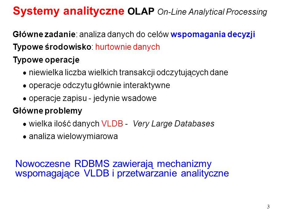 3 Główne zadanie: analiza danych do celów wspomagania decyzji Typowe środowisko: hurtownie danych Typowe operacje niewielka liczba wielkich transakcji
