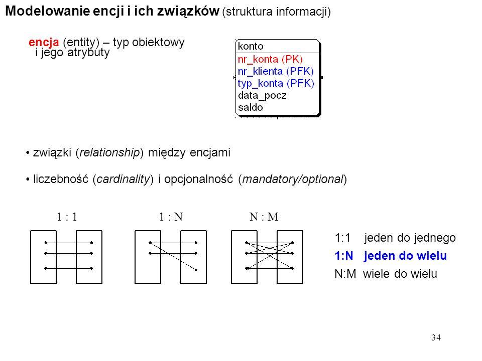 34 Modelowanie encji i ich związków (struktura informacji) encja (entity) – typ obiektowy i jego atrybuty związki (relationship) między encjami liczeb