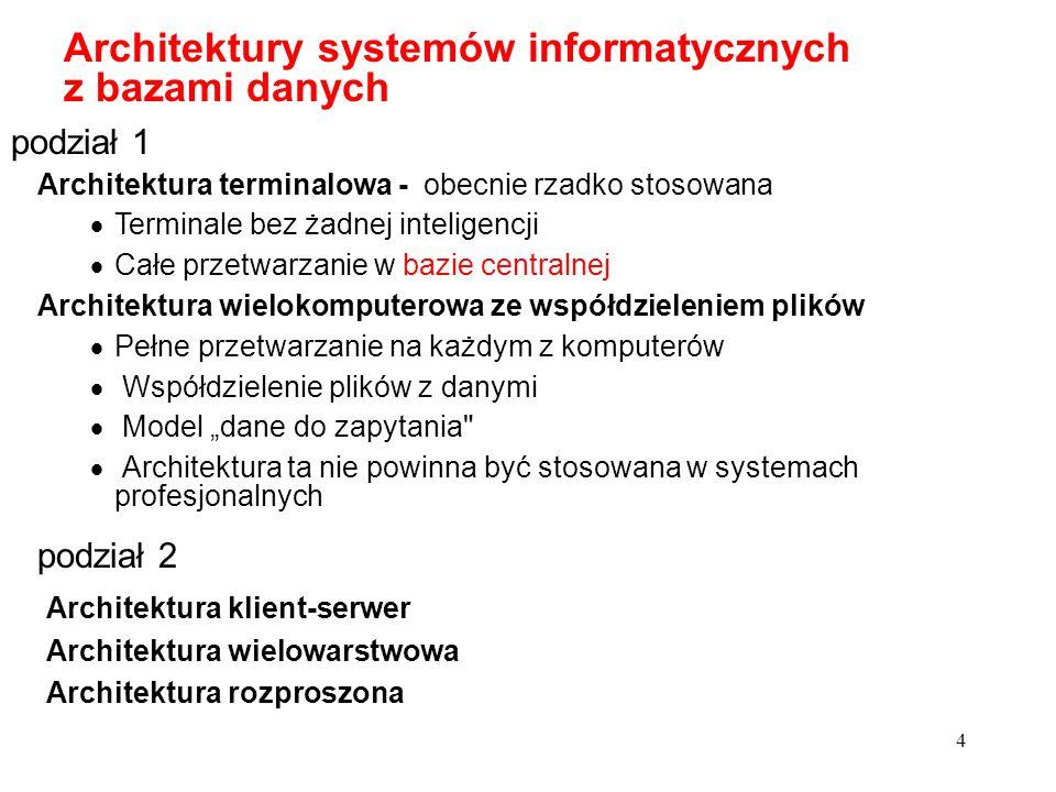 4 Architektury systemów informatycznych z bazami danych Architektura terminalowa - obecnie rzadko stosowana Terminale bez żadnej inteligencji Całe prz