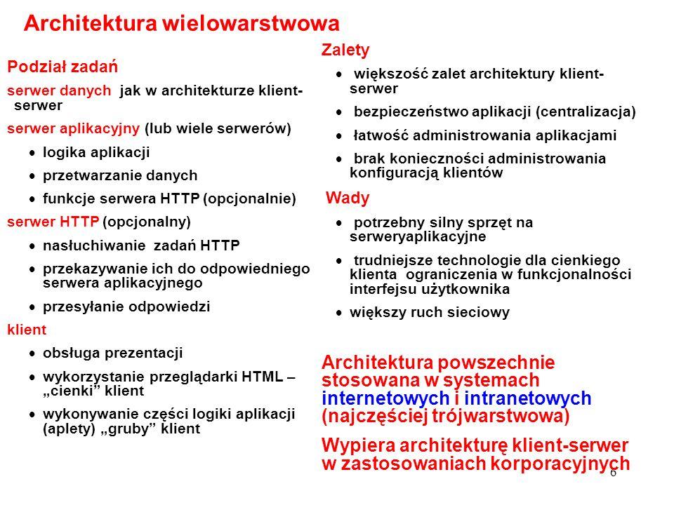 7 Podział zadań serwer(y) danych jak w poprzednich architekturach aplikacja współdziałanie obiektów rozproszonych w sieci klienty jak w architekturze wielowarstwowej Architektura rozproszona Zalety możliwość wykorzystania gotowych komponentów istniejących w sieci dostosowanie do obliczeń rozproszonych niemal nieograniczona skalowalność Wady trudne technologie nadmiarowość w stosunku do typowych współczesnych potrzeb Technologie M.in.