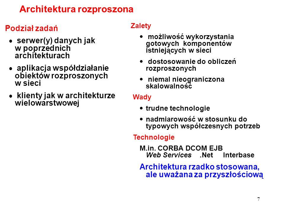 7 Podział zadań serwer(y) danych jak w poprzednich architekturach aplikacja współdziałanie obiektów rozproszonych w sieci klienty jak w architekturze
