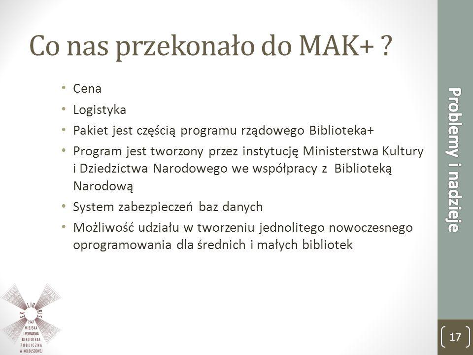 Co nas przekonało do MAK+ ? Cena Logistyka Pakiet jest częścią programu rządowego Biblioteka+ Program jest tworzony przez instytucję Ministerstwa Kult