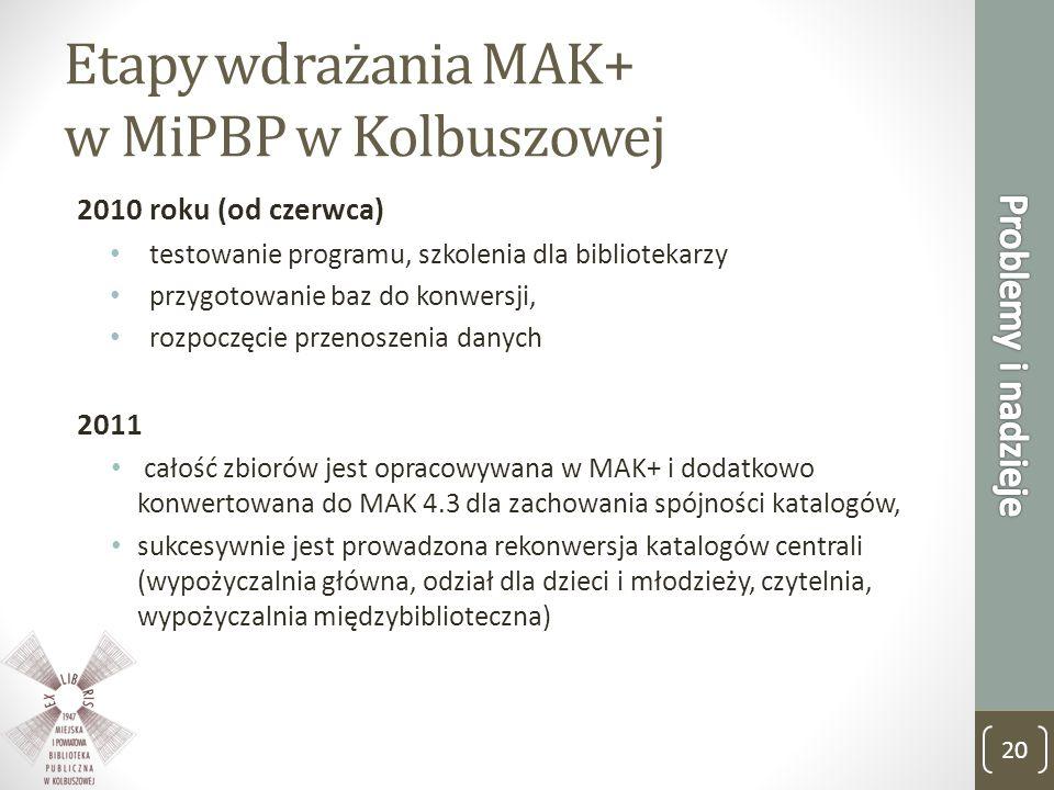 Etapy wdrażania MAK+ w MiPBP w Kolbuszowej 2010 roku (od czerwca) testowanie programu, szkolenia dla bibliotekarzy przygotowanie baz do konwersji, roz