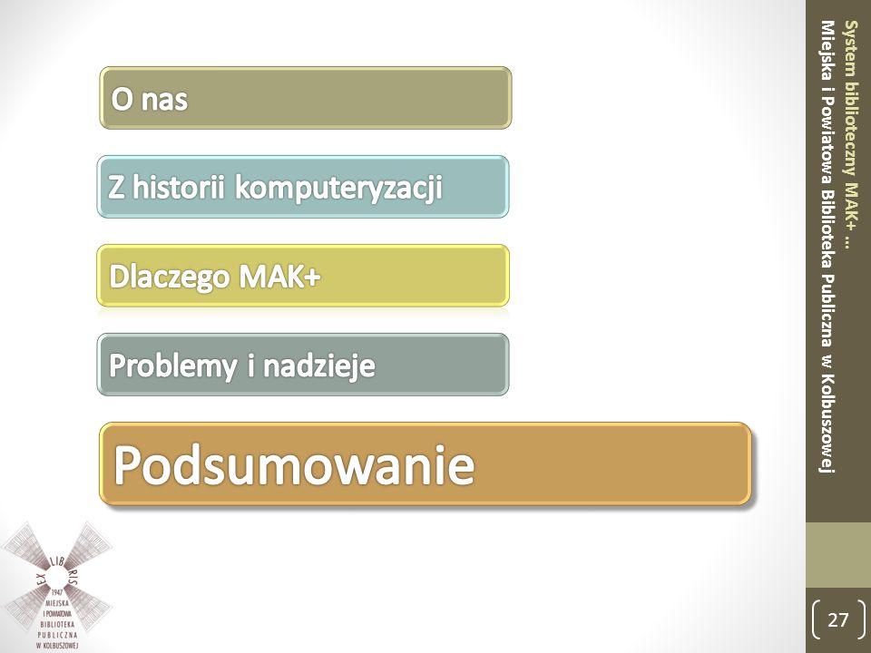 27 System biblioteczny MAK+ … Miejska i Powiatowa Biblioteka Publiczna w Kolbuszowej