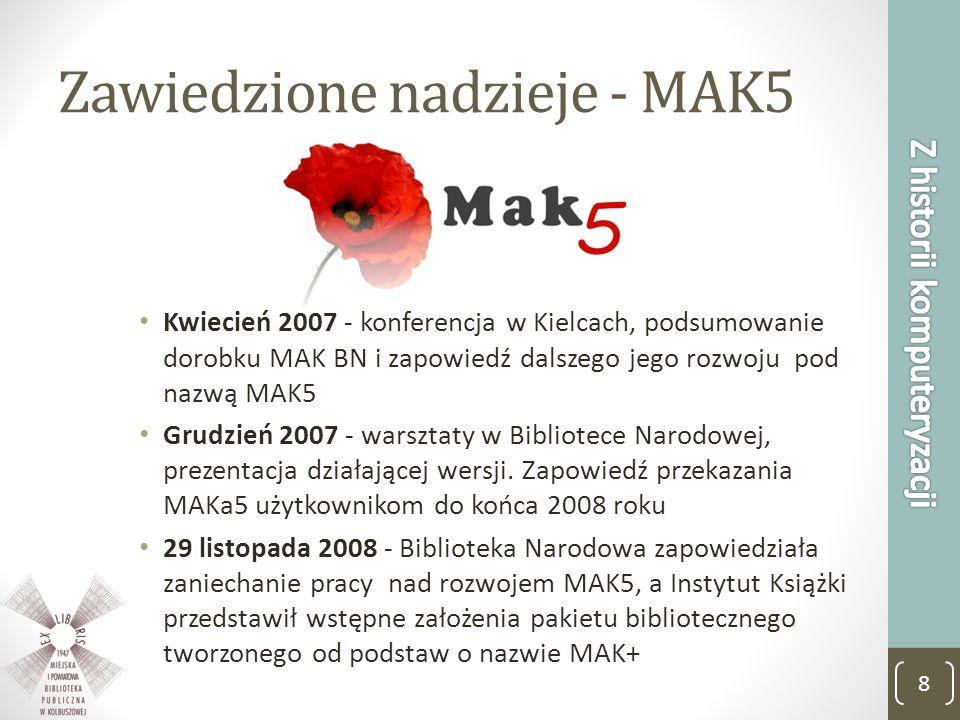 Zawiedzione nadzieje - MAK5 Kwiecień 2007 - konferencja w Kielcach, podsumowanie dorobku MAK BN i zapowiedź dalszego jego rozwoju pod nazwą MAK5 Grudz