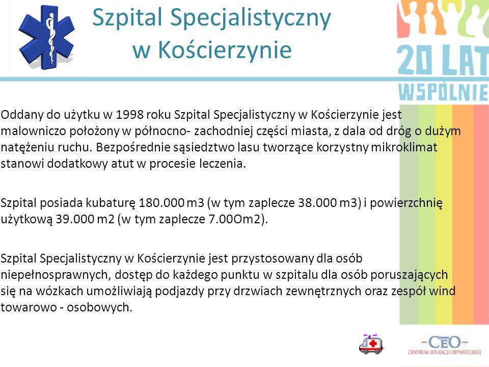 Oddany do użytku w 1998 roku Szpital Specjalistyczny w Kościerzynie jest malowniczo położony w północno- zachodniej części miasta, z dala od dróg o du