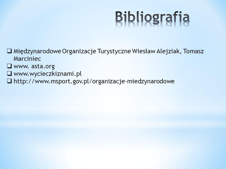 Międzynarodowe Organizacje Turystyczne Wiesław Alejziak, Tomasz Marciniec www. asta.org www.wycieczkiznami.pl http://www.msport.gov.pl/organizacje-mie