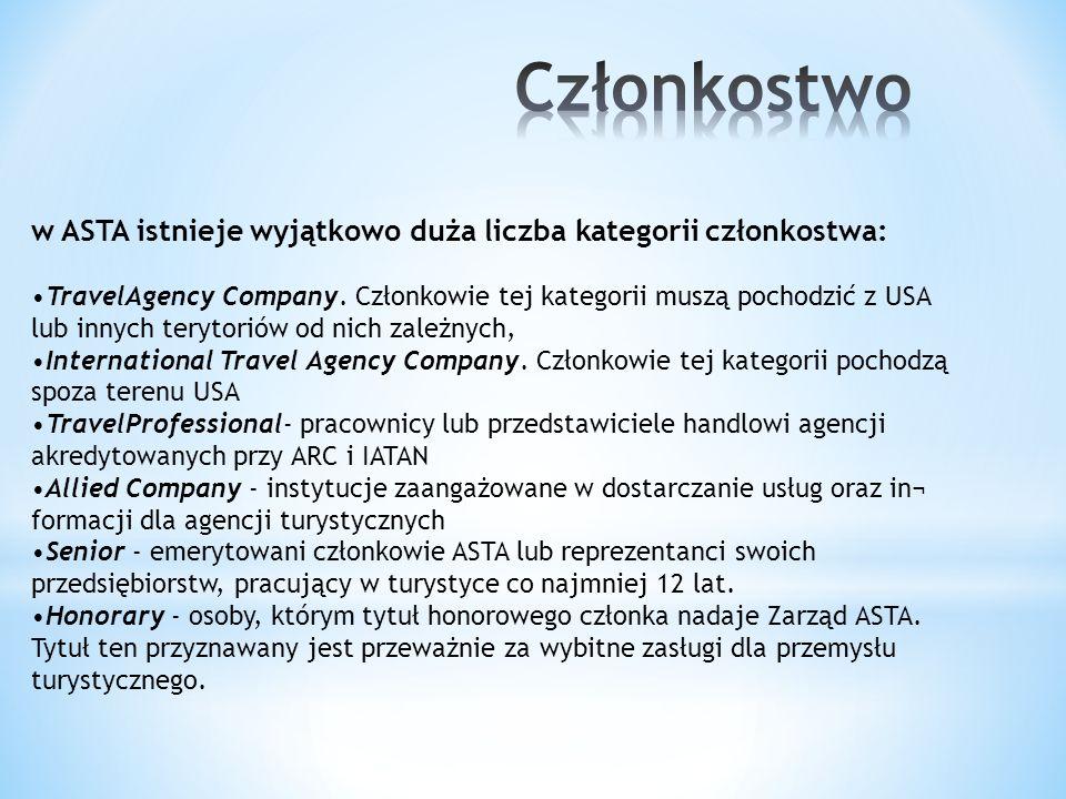 w ASTA istnieje wyjątkowo duża liczba kategorii członkostwa: TravelAgency Company. Członkowie tej kategorii muszą pochodzić z USA lub innych terytorió