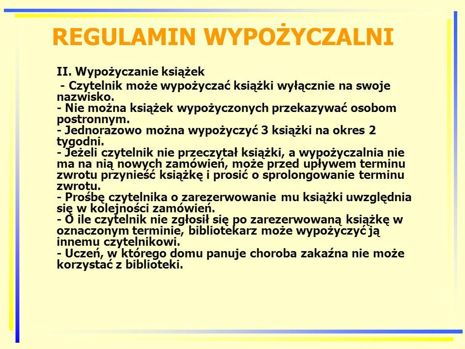REGULAMIN WYPOŻYCZALNI III.