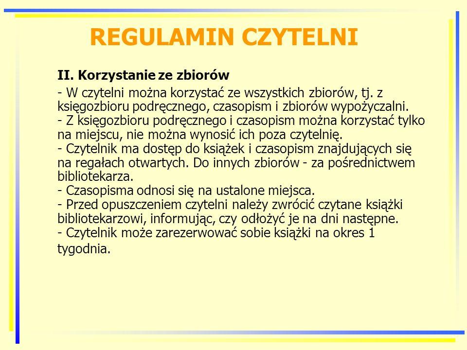 REGULAMIN CZYTELNI II.