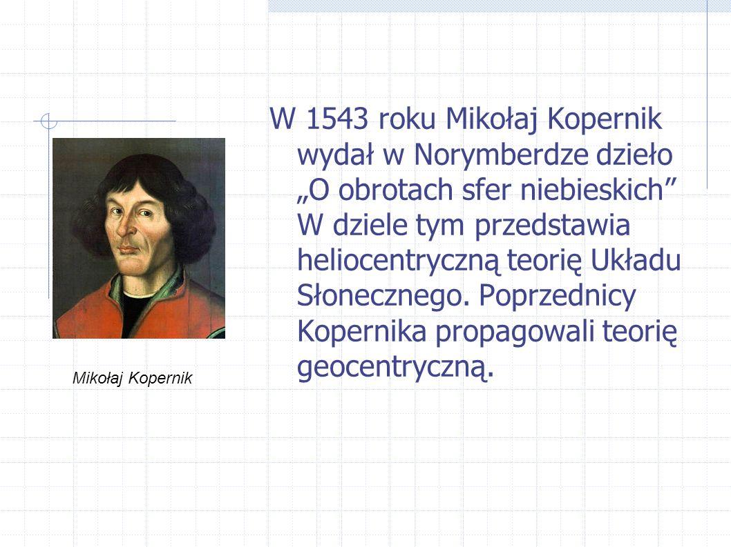 W 1543 roku Mikołaj Kopernik wydał w Norymberdze dzieło O obrotach sfer niebieskich W dziele tym przedstawia heliocentryczną teorię Układu Słonecznego