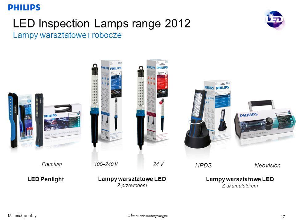 Materiał poufny Oświetlenie motoryzacyjne LED Inspection Lamps range 2012 Lampy warsztatowe i robocze LED Penlight Lampy warsztatowe LED Z przewodem 100–240 V24 V Lampy warsztatowe LED Z akumulatorem HPDS Neovision 17 Premium