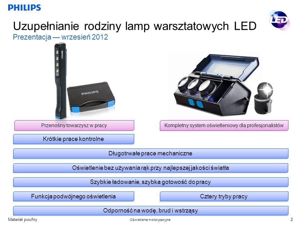 Materiał poufny Oświetlenie motoryzacyjne Uzupełnianie rodziny lamp warsztatowych LED Prezentacja wrzesień 2012 Oświetlenie bez używania rąk przy najlepszej jakości światła Odporność na wodę, brud i wstrząsy Szybkie ładowanie, szybka gotowość do pracy Funkcja podwójnego oświetlenia Kompletny system oświetleniowy dla profesjonalistów Długotrwałe prace mechaniczne Cztery tryby pracy 2 Przenośny towarzysz w pracy Krótkie prace kontrolne