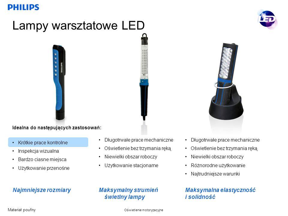 Materiał poufny Oświetlenie motoryzacyjne Lampy warsztatowe LED Długotrwałe prace mechaniczne Oświetlenie bez trzymania ręką Niewielki obszar roboczy Różnorodne użytkowanie Najtrudniejsze warunki Maksymalna elastyczność i solidność Krótkie prace kontrolne Inspekcja wizualna Bardzo ciasne miejsca Użytkowanie przenośne Idealna do następujących zastosowań: Najmniejsze rozmiary Maksymalny strumień świetlny lampy Długotrwałe prace mechaniczne Oświetlenie bez trzymania ręką Niewielki obszar roboczy Użytkowanie stacjonarne
