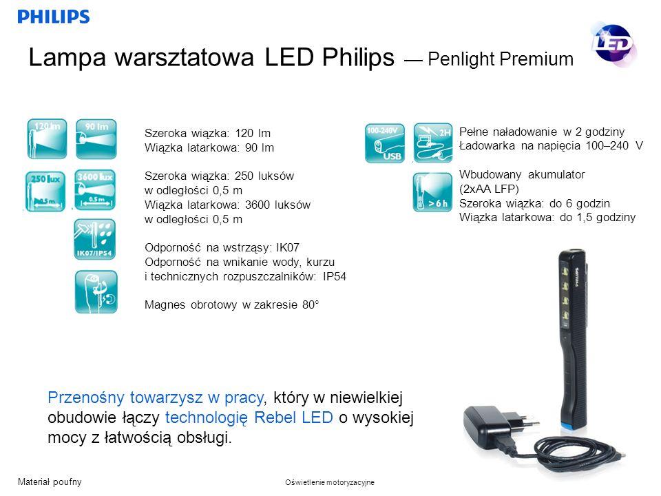 Materiał poufny Oświetlenie motoryzacyjne Lampa warsztatowa LED Philips Penlight Premium Przenośny towarzysz w pracy, który w niewielkiej obudowie łączy technologię Rebel LED o wysokiej mocy z łatwością obsługi.