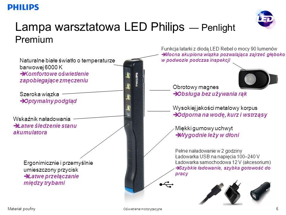 Materiał poufny Oświetlenie motoryzacyjne Funkcja latarki z diodą LED Rebel o mocy 90 lumenów Mocna skupiona wiązka pozwalająca zajrzeć głęboko w podwozie podczas inspekcji Naturalne białe światło o temperaturze barwowej 6000 K Komfortowe oświetlenie zapobiegające zmęczeniu Pełne naładowanie w 2 godziny Ładowarka USB na napięcia 100–240 V Ładowarka samochodowa 12 V (akcesorium) Szybkie ładowanie, szybka gotowość do pracy Wysokiej jakości metalowy korpus Odporna na wodę, kurz i wstrząsy Obrotowy magnes Obsługa bez używania rąk Ergonimicznie i przemyślnie umieszczony przycisk Łatwe przełączanie między trybami Szeroka wiązka Optymalny podgląd Wskaźnik naładowania Łatwe śledzenie stanu akumulatora Miękki gumowy uchwyt Wygodnie leży w dłoni 6 Lampa warsztatowa LED Philips Penlight Premium