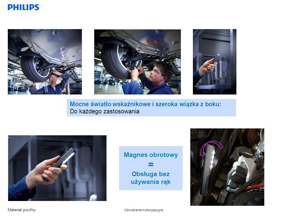 Materiał poufny Oświetlenie motoryzacyjne Magnes obrotowy = Obsługa bez używania rąk Mocne światło wskaźnikowe i szeroka wiązka z boku: Do każdego zastosowania