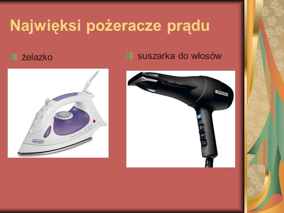 Najwięksi pożeracze prądu żelazko suszarka do włosów