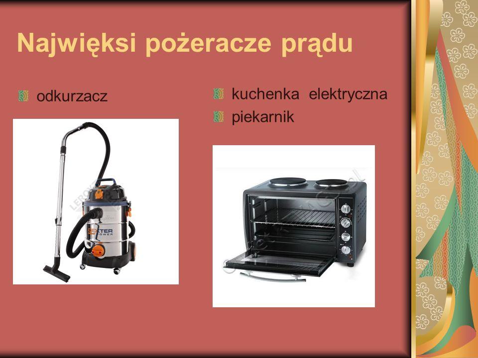 Najwięksi pożeracze prądu odkurzacz kuchenka elektryczna piekarnik