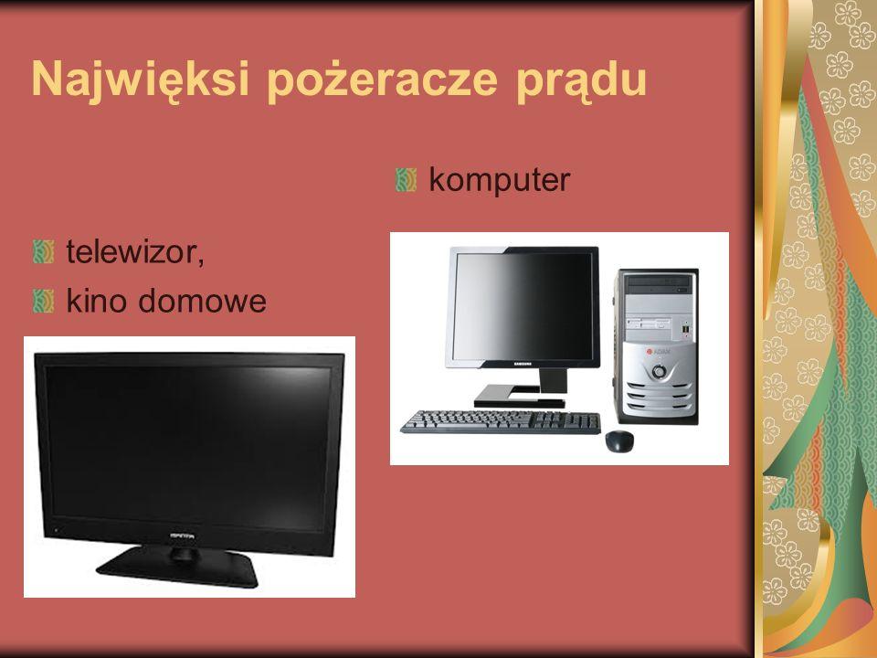Najwięksi pożeracze prądu telewizor, kino domowe komputer