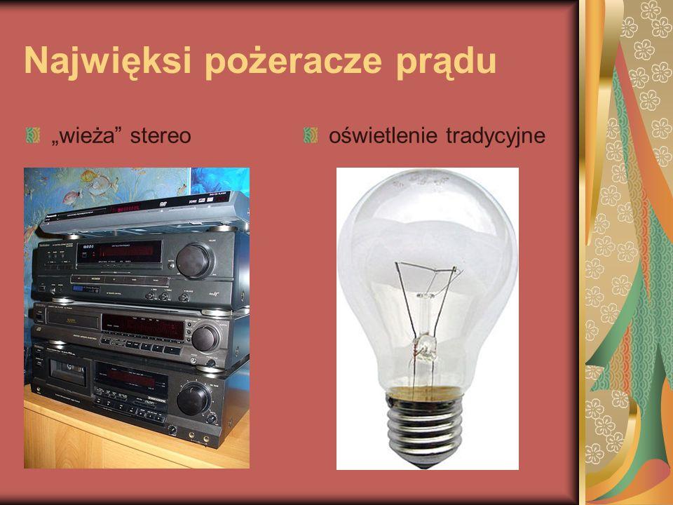 Najwięksi pożeracze prądu wieża stereooświetlenie tradycyjne