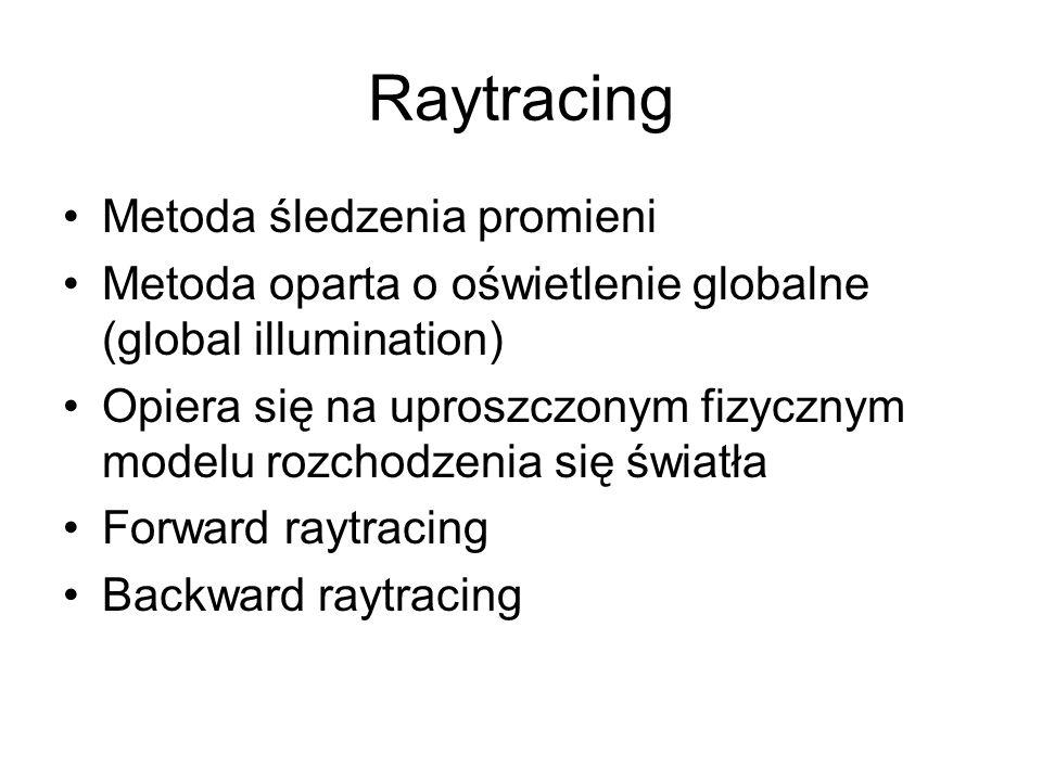 Raytracing Metoda śledzenia promieni Metoda oparta o oświetlenie globalne (global illumination) Opiera się na uproszczonym fizycznym modelu rozchodzen
