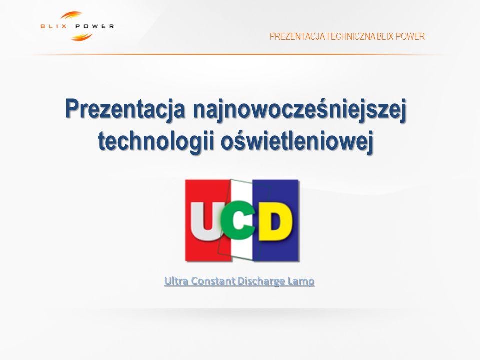 Prezentacja najnowocześniejszej technologii oświetleniowej PREZENTACJA TECHNICZNA BLIX POWER Ultra Constant Discharge Lamp