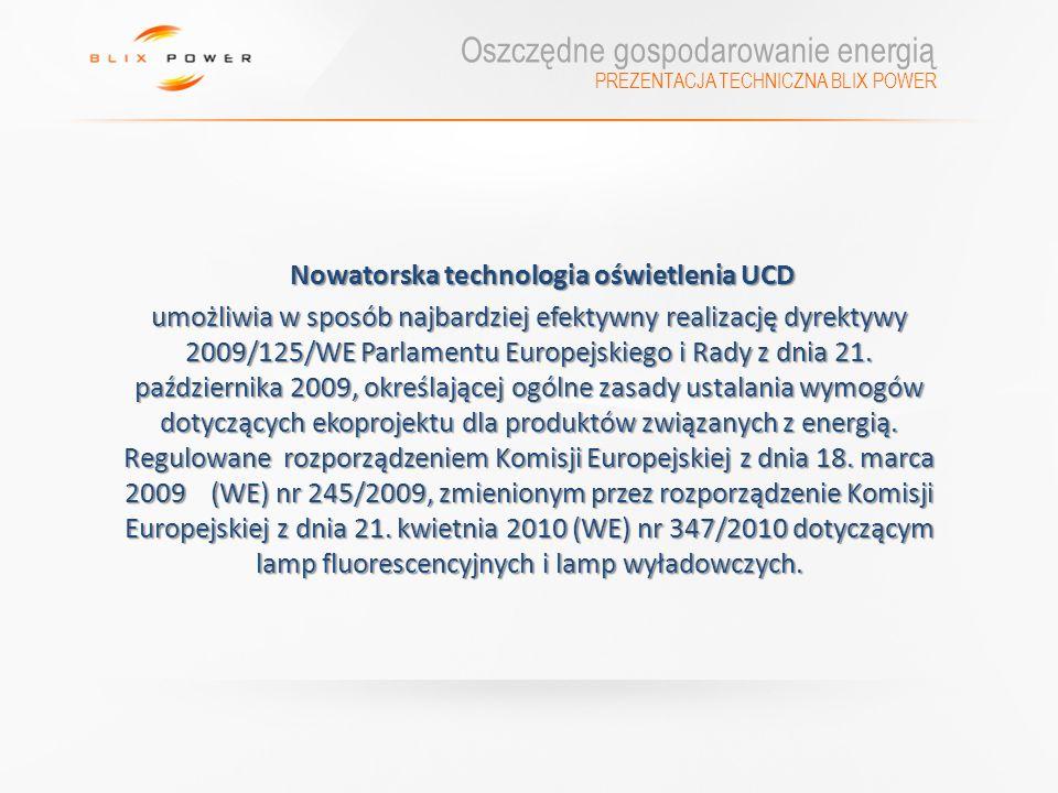 PREZENTACJA TECHNICZNA BLIX POWER Nowatorska technologia oświetlenia UCD Nowatorska technologia oświetlenia UCD umożliwia w sposób najbardziej efektyw