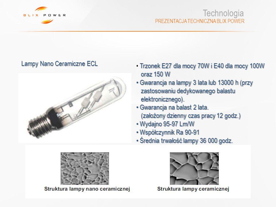 Technologia PREZENTACJA TECHNICZNA BLIX POWER Trzonek E27 dla mocy 70W i E40 dla mocy 100W oraz 150 W oraz 150 W Gwarancja na lampy 3 lata lub 13000 h
