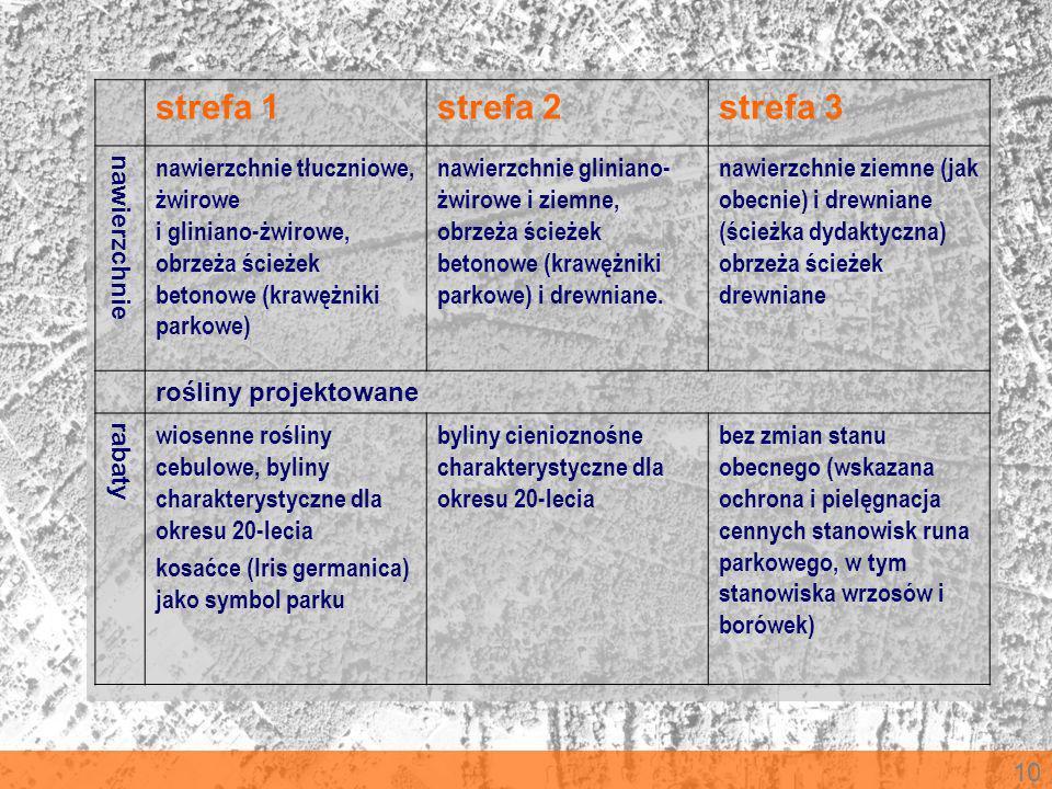 10 strefa 1strefa 2strefa 3 nawierzchnie nawierzchnie tłuczniowe, żwirowe i gliniano-żwirowe, obrzeża ścieżek betonowe (krawężniki parkowe) nawierzchn