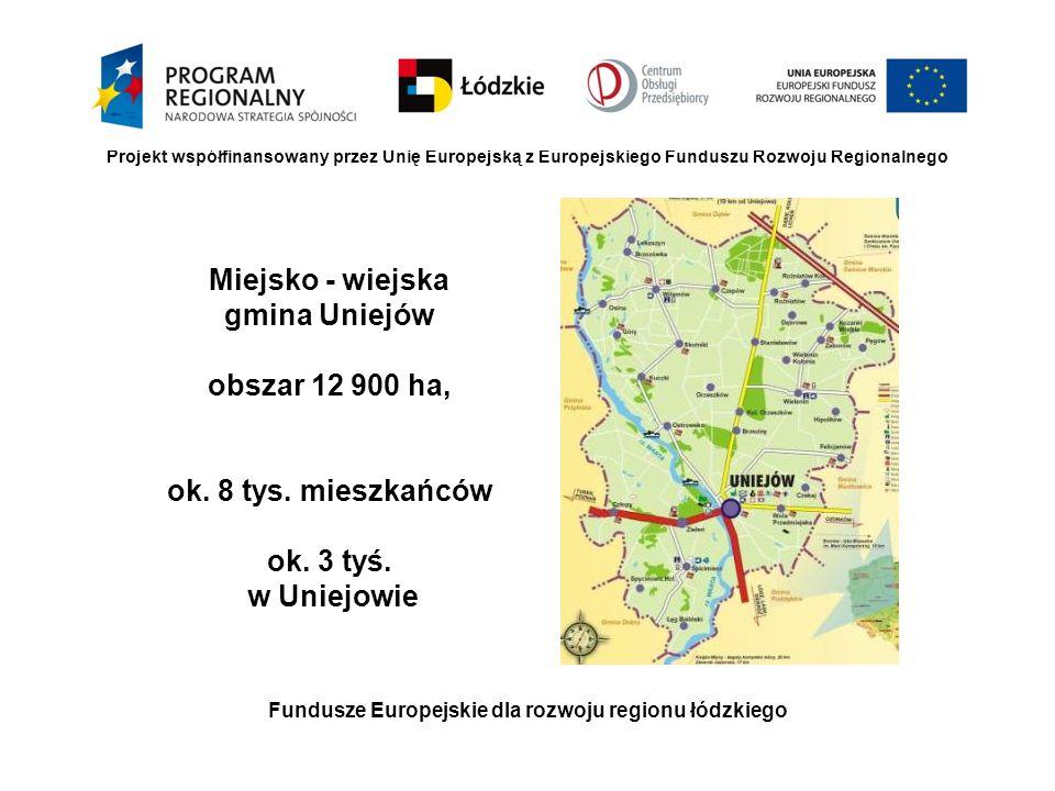 Fundusze Europejskie dla rozwoju regionu łódzkiego Miejsko - wiejska gmina Uniejów obszar 12 900 ha, ok. 8 tys. mieszkańców ok. 3 tyś. w Uniejowie Pro